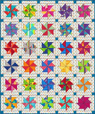 Flying Kite quilt block done in bright kid prints for a baby quilt
