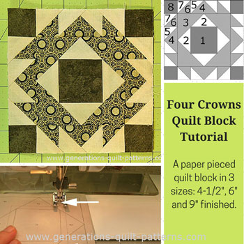 The Four Crowns quilt block tutorial