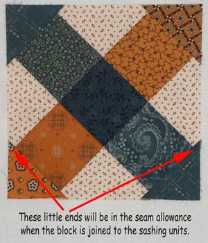 A stitched Garden Maze quilt block