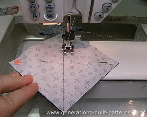To make half square triangles, stitch a 1/4