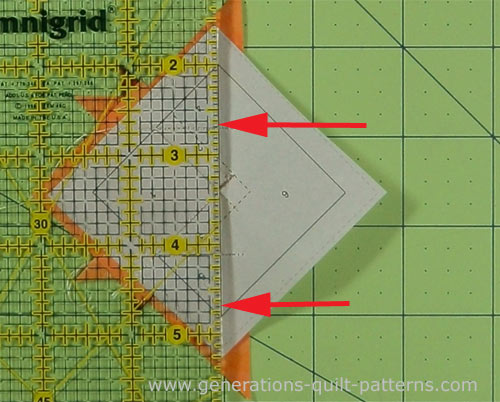 Align the ruler edge with the line between #6 and the rest of the block