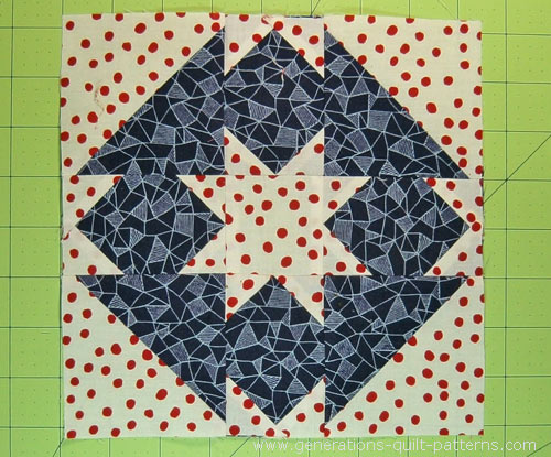 The finished Goshen Star quilt block