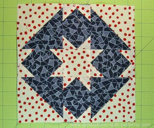 The finished Goshen Star quilt block