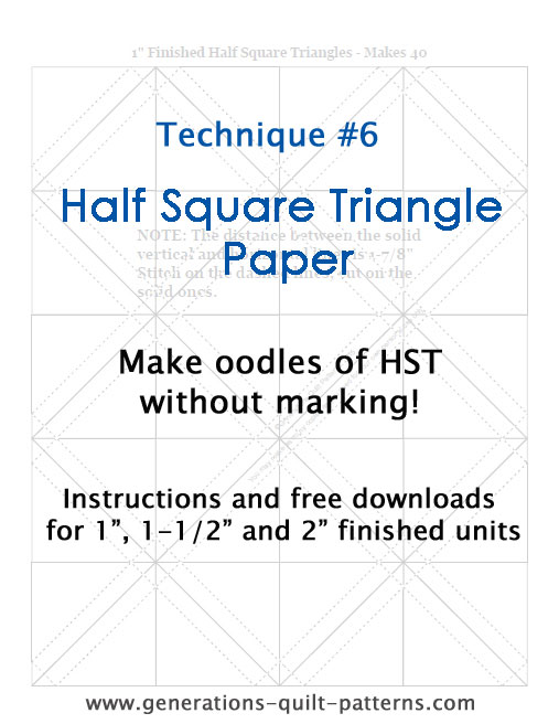 Instructions for making half square triangles with triangle paper