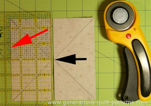 Use the 'Midpoint' measurement from the cutting chart to cut the unit in half, and then in half again.