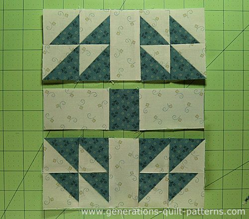 Sew the patches together into rows, pressing toward the #4 patch
