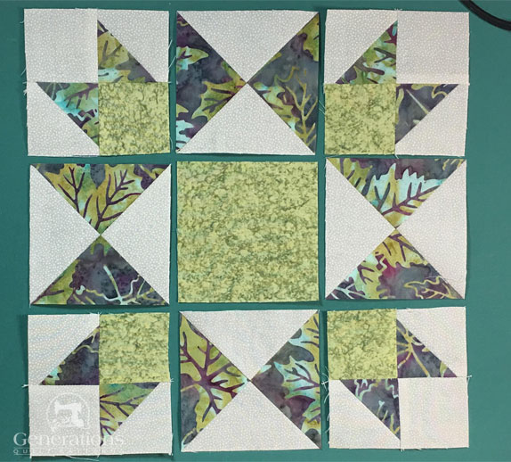 Arrange the QST, corners and solid square into the Honeymoon design