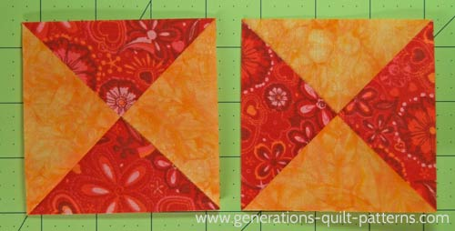 A pair of finished Hourglass quilt blocks