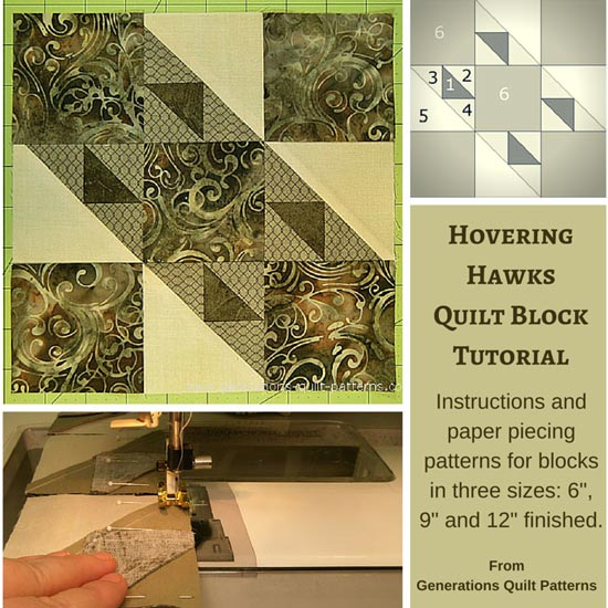 The Hovering Hawks quilt block tutorial