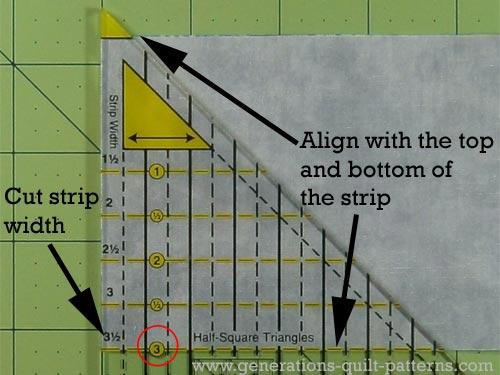 Align the edge of the ruler with the cut edge of the strip