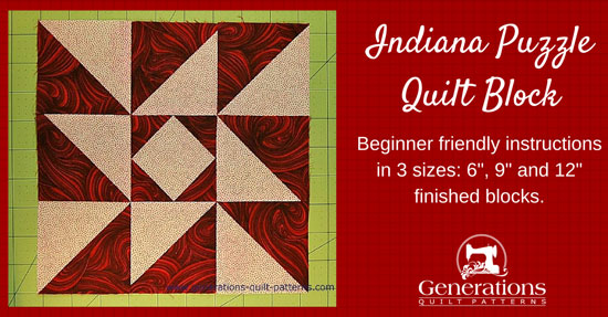 Indiana Puzzle quilt block tutorial