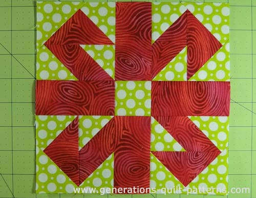 The finished Jack in the Box quilt block