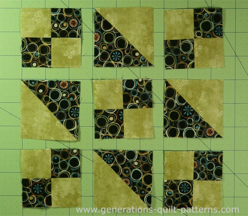 Lay out the sewn units in rows
