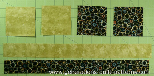 Cut your patches for the Jacob's Ladder quilt block