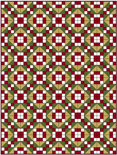 Jacob's Ladder quilt pattern-four fabrics