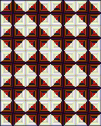 Log Cabin Quilt - Sunshine and Shadows setting