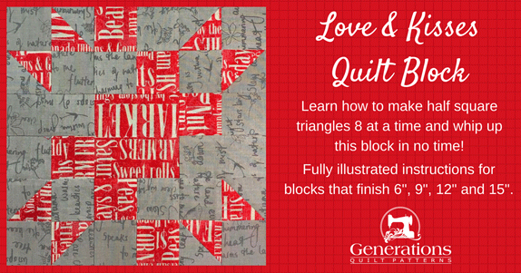 The Love and Kisses quilt block tutorial starts here