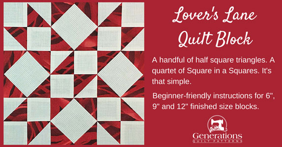 The Lover's Lane quilt block tutorial begins here.