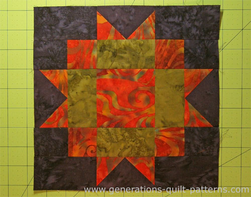 The finished Maple Leaf quilt block