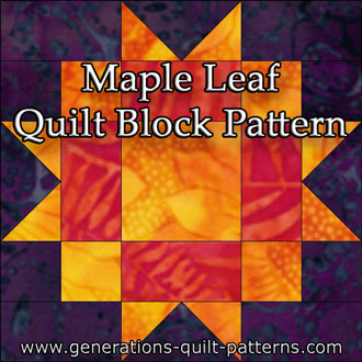 The Maple Leaf quilt block tutorial for a 6x6 grid block