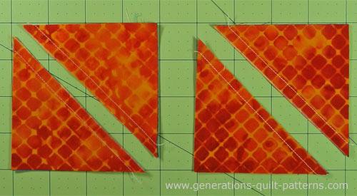 Cut the sewn units apart on the drawn line