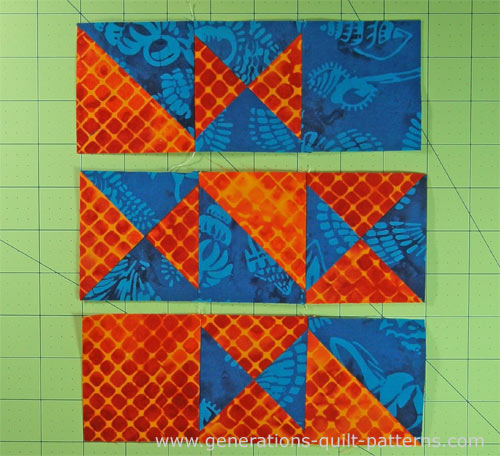 Stitch the units into rows