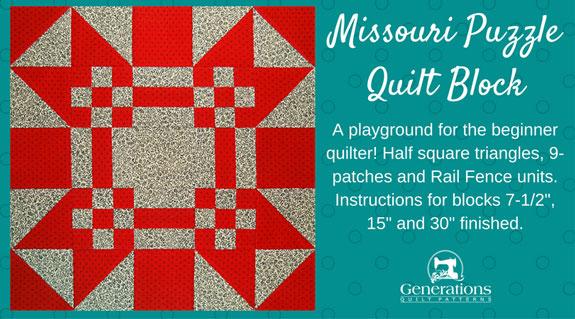 Missouri Puzzle quilt block tutorial starts here