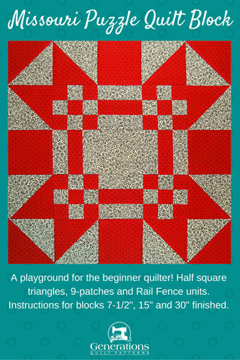Pin the Missouri Puzzle quilt block tutorial for later