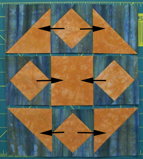 Join the rows of the Mrs. Brown's Choice quilt block
