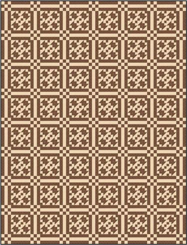 New Double Four Patch quilt pattern in two fabrics