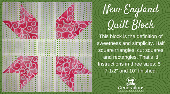 The New England quilt block tutorial starts here.