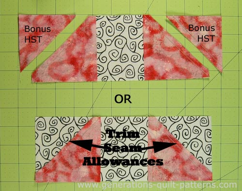 You can either make a bonus HST from each corner or simply trim the seam allowance from the small square.