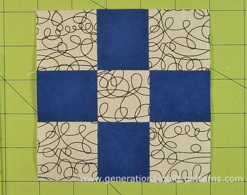 Your finished nine patch all ready to be sewn into your quilt project