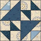Hourglass quilt block, Old Maid's Puzzle, variation 7