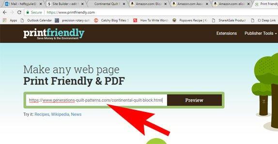 Paste the tutorial's URL into the box on PrintFriendly.com
