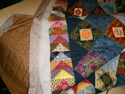 The quilt layers during quilting