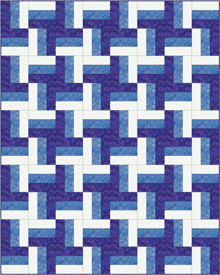 Rail Fence quilt - pinwheel layout