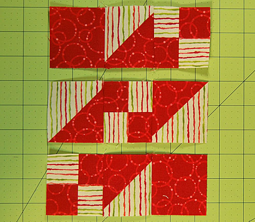 Stitch the units in each row together