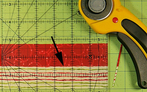 Straighten a short edge with your rotary cutter and ruler.