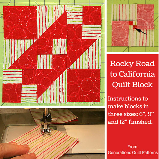 The Rocky Road to California quilt block tutorial