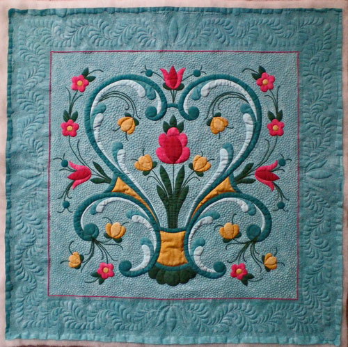 The heirloom quilting on this quilt took over 1,600 yards of thread