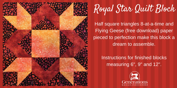 The Royal Star quilt block tutorial begins here...