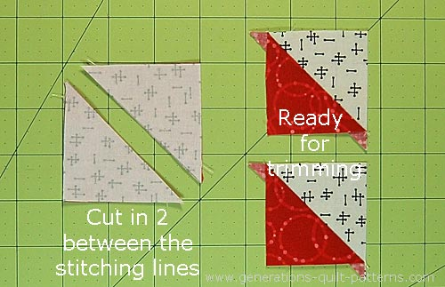 Cut the sewn #4/#5 pairs in two on the drawn line