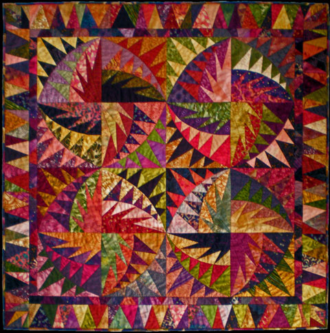 "The Fish Quilt made from a quilt pattern designed by Karen Stone called ""unTIEtled""."