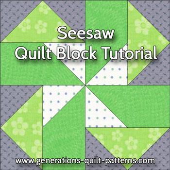 Seesaw quilt block tutorial in three sizes