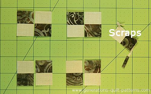 Arrange the subcuts into four patches