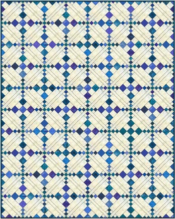 Single Chain and Knot quilt, diagonal set with sashing, scrappy fabrics