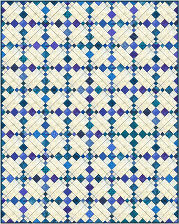 Single Chain and Knot quilt, diagonal set, scrappy fabrics