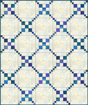 Simple Chain and Knot quilt, straight set with plain alternate blocks