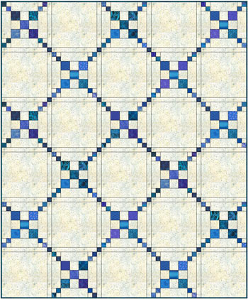 Simple Chain and Knot quilt, straight set, sashing, solid alternate blocks